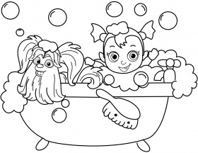 Wolfie and Nosy From Vampirina Coloring Pages in the Bathroom to ...