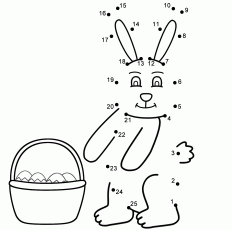 Easter Bunny - Connect the Dots, count by 1's (Easter)