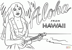 Hawaiian Girl with Lei and Ukulele coloring page | Free Printable ...