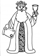 King Ahasuerus Holding Scroll and Grail in Purim Coloring Sheet ...