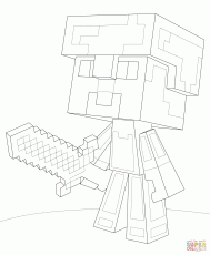 Minecraft Steve Diamond Armor coloring page | Free Printable Coloring Pages