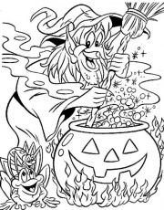 WITCH coloring pages - Sorceress prepares a cursed potion