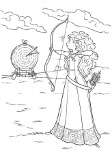 Merida Shooting Target with Arrow in Disney Brave Coloring Page ...