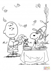 Charlie Brown Thanksgiving coloring page | Free Printable Coloring ...