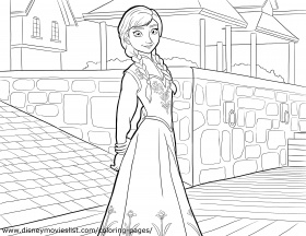 Disney's Frozen Anna and Elsa Together Coloring Page