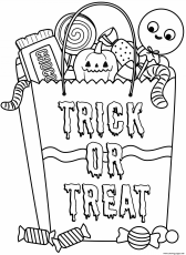 Halloween Candy Bag With Treats Coloring Pages Printable