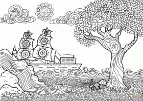 Seascape Zentangle coloring page | Free Printable Coloring Pages