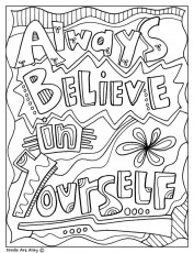 Always Believe in Yourself Inspirational Coloring Page ...