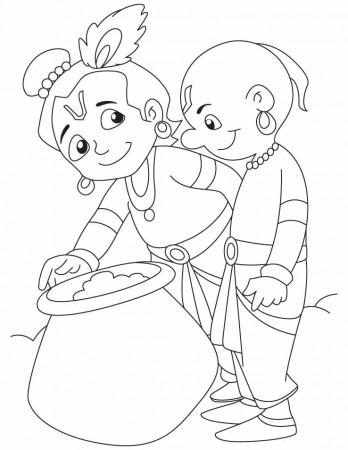 lord krishna, the slayer of kalia naag coloring pages | download ... - Baby Krishna Images Coloring Pages