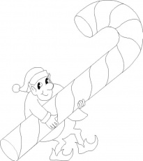 elf carries candy cane coloring sheet