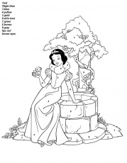 Beautiful Disney Princess Snow White Color By Number Coloring Picture