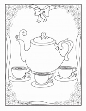 tea party coloring pages free
