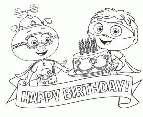 super why happy birthday coloring page