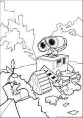 Coloring Pages Wall E Finds Green Plant (Cartoons > Wall-E) - free