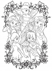 Print Coloring Pages Of Tinkerbell And Friends or Download