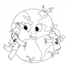 Earth Day : Treat the Earth Well Coloring Printout, Smile Of Earth