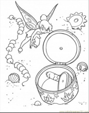 Coloring Pages Tinkerbell Found Little Treasure (Cartoons > Disney