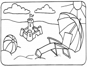 Beach coloring pages designed for children