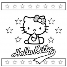 Hello Kitty with stars - free coloring pages | Coloring Pages