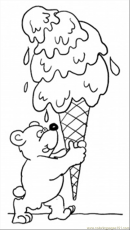 Coloring Pages Teddy Bear With Ice Cream (Food & Fruits > Desserts