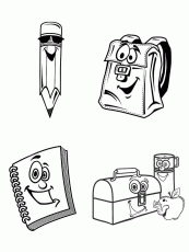 school supplies coloring pages