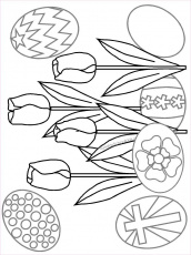 Sunday school kids Easter Coloring page with tulips and eggs