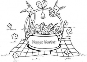 Printable Colouring Sheets Easter Basket For Kids & Girls 14820#