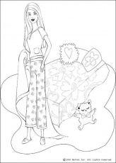 BARBIE DOLL coloring pages - Barbie's bed