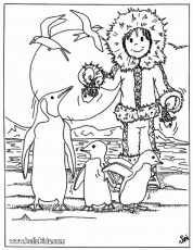 BIRD coloring pages - Eskimo with penguins