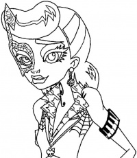 Twin Monster High Purrsephone Meowlody Coloring Pages - Monster
