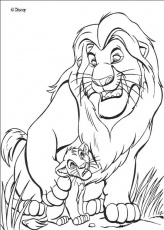 The Lion King coloring pages - Mufasa the Lion King with Simba