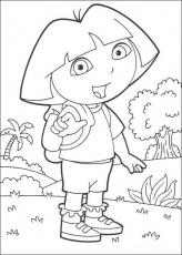 DORA THE EXPLORER coloring pages - Dora the Explorer on holiday