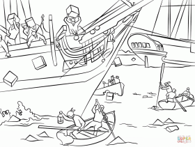 Boston Tea Party Coloring Page Coloring Home