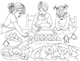 Three Kids Baking Cookies Coloring Pages : Best Place to Color