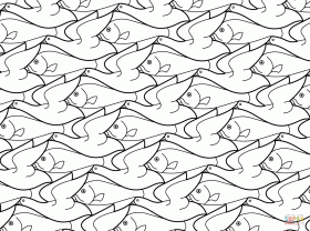 Bird Fish Tessellation by M.C. Escher coloring page | Free ...