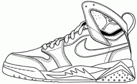 Air Jordan Shoe Coloring Pages Printable 1 in 2019 | Air ...