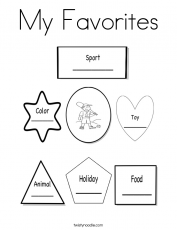 All About Me Coloring Page - Favorites