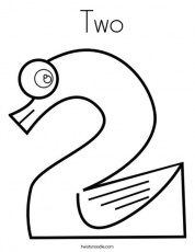 Two Coloring Page - Twisty Noodle | Writing numbers, Free printable math  worksheets, Coloring pages