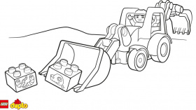 LEGO® DUPLO® Backhoe loader coloring page - Coloring page ...