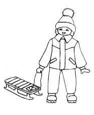 Little Kid With His Winter Sled Coloring Page - Download & Print Online Coloring  Pages for Free | Color Nimbus