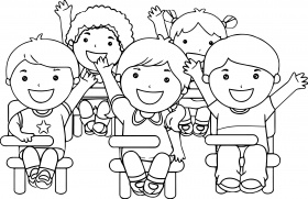 child at school coloring page