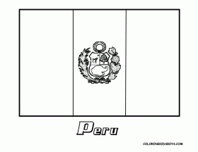 Peru Flag Coloring Sheet