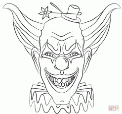 Evil Clown Face coloring page | Free Printable Coloring Pages
