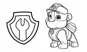 Rubble and Badge PAW Patrol Coloring Pages