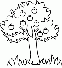 coloring page for kids apple tree
