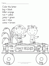 Printable Fall Coloring Pages - Color by letter/sight word