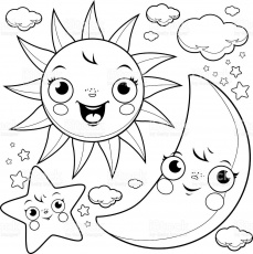 Sun Moon Coloring Pages (With images) | Star coloring pages, Moon ...