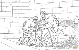 Paul and Timothy in Prison coloring page | Free Printable Coloring ...