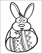 Easter Bunny and Egg Coloring Page