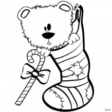 CHRISTMAS STOCKINGS coloring pages - Teddy Bear and fireplace stocking
